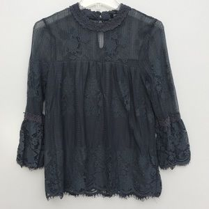 Miss Chievous Mock Neck Bell Sleeve Lace Top Small